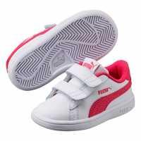 Puma Маратонки За Малко Момиченце Smash Infant Girls Trainers White/Pink Бебешки обувки и маратонки