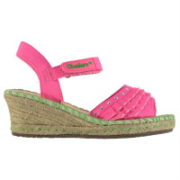 Skechers Tikis Ruffle Wedged Shoes Child Girls Neon Pink Детски сандали и джапанки