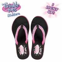 Skechers Twinkle Toes Flip Flops Junior Girls Black/Hot Pink Детски сандали и джапанки