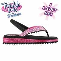 Skechers Детски Джапанки Момиче Twinkle Toes Girls Flip Flops Black/Hot Pink Детски сандали и джапанки