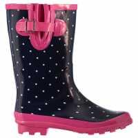 Rock And Rags Дамски Гумени Ботуши Polka Dot Wellies Ladies Navy Pink Дамски гумени ботуши