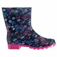 Rock And Rags Print Ladies Wellies Navy Multi Дамски гумени ботуши