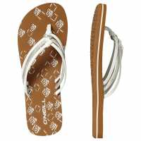Oneill Дамски Джапанки Ditsy Flip Flops Ladies White Дамски сандали и джапанки