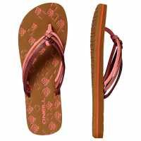 Oneill Дамски Джапанки Ditsy Flip Flops Ladies Hot Coral Дамски сандали и джапанки