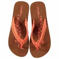 Oneill Дамски Джапанки Ditsy Flip Flops Ladies Neon Peach Дамски сандали и джапанки