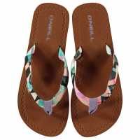 Oneill Дамски Джапанки Woven Flip Flops Ladies White AOP Дамски сандали и джапанки