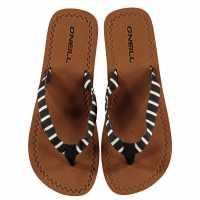 Oneill Дамски Джапанки Woven Flip Flops Ladies Black AOP Wht Дамски сандали и джапанки