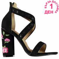 Rock And Rags Embroidered Heel Sandals Black Дамски сандали и джапанки