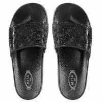 Miso Sparkle Ladies Pool Sliders Black Дамски сандали и джапанки