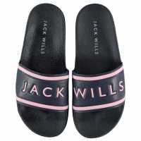 Jack Wills Harvey Sliders Pink/Navy Дамски обувки