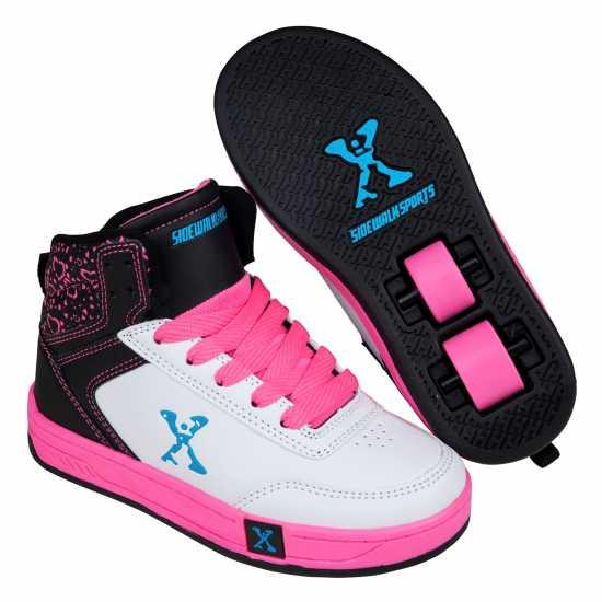 Sidewalk Sport Скейт Обувки За Момичета Hi Top Girls Skate Shoes White/Blk/Pink Маратонки с колелца