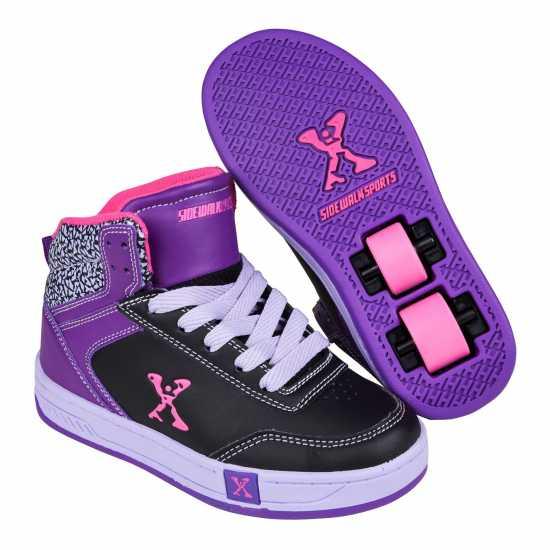 Sidewalk Sport Скейт Обувки За Момичета Hi Top Girls Skate Shoes Black/Purple Маратонки с колелца