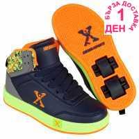 Sidewalk Sport Обувки С Колелца За Момче Hi Top Boys Skate Shoes Navy/Lime Маратонки с колелца