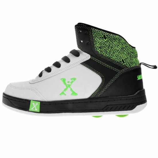 Sidewalk Sport Обувки С Колелца За Момче Hi Top Boys Skate Shoes White/Blk/Green Маратонки с колелца