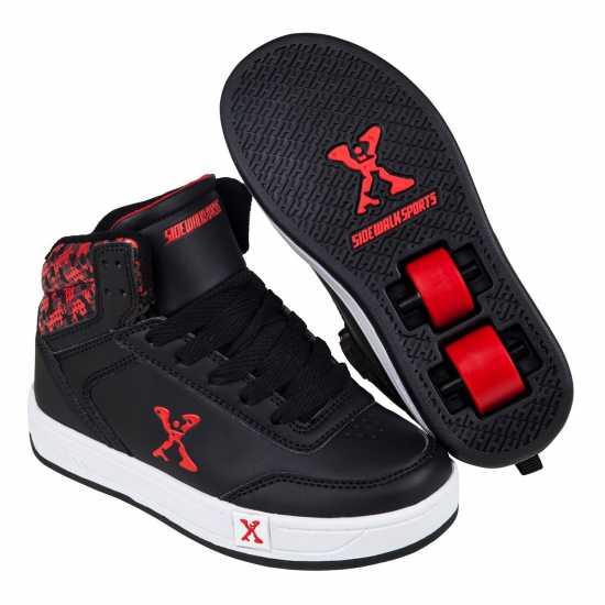 Sidewalk Sport Обувки С Колелца За Момче Hi Top Boys Skate Shoes Black/Red Маратонки с колелца