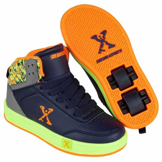Sidewalk Sport Обувки С Колелца За Момче Hi Top Junior Boys Skate Shoes Navy/Lime Маратонки с колелца