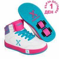 Sidewalk Sport Скейт Обувки За Момичета Hi Top Girls Skate Shoes White/Pink/Blue Маратонки с колелца