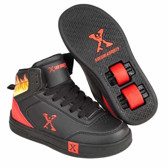 Sidewalk Sport Детски Скейт Кецове Hi Top Childrens Skate Shoes Black/Red Маратонки с колелца