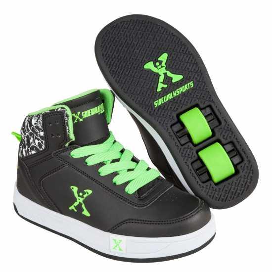 Sidewalk Sport Детски Скейт Кецове Hi Top Childrens Skate Shoes Black/Green Маратонки с колелца