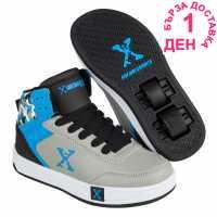 Sidewalk Sport Детски Скейт Кецове Hi Top Junior Skate Shoes Grey/Black/Blue Маратонки с колелца