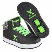 Sidewalk Sport Детски Скейт Кецове Hi Top Junior Skate Shoes Black/Green Маратонки с колелца
