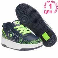 Heelys Детски Скейт Кецове Pop Strike Childrens Skate Shoes Navy/Green Маратонки с колелца