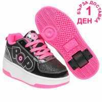 Heelys Скейт Обувки За Момичета Strike Junior Girls Skate Shoes Black/Pink Маратонки с колелца