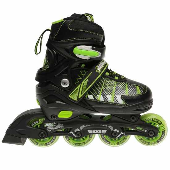 No Fear Ролери За Деца Edge Childrens Inline Skates Black/Green Детски ролкови кънки