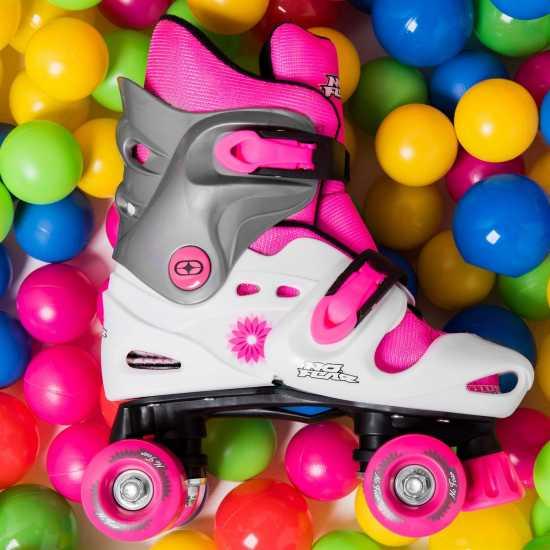 No Fear Ролкови Кънки Момичета Quad Skates Girls White/Pink Детски ролкови кънки