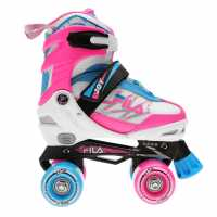 Fila Joy G Quad Roller Skates Junior Girls White/Pink/Blue Детски ролкови кънки