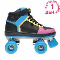 Rookie Hype Hi Top Trainer Girls Quad Skates Black/Blue/Pink Детски ролкови кънки