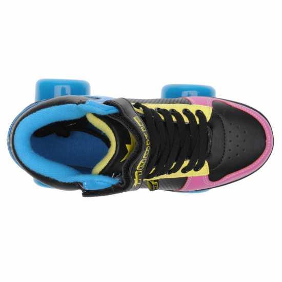 Rookie Hype Hi Top Trainer Girls Quad Skates Black/Blue/Pink Детски ролкови кънки