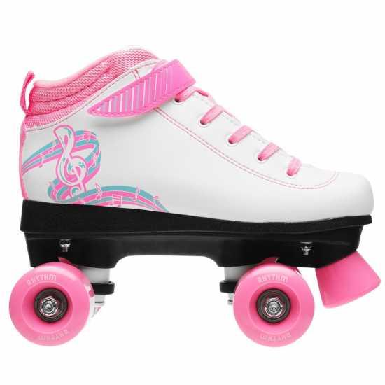 Rookie Rhythm Quad Roller Skates Junior Girls White/Pink Детски ролкови кънки