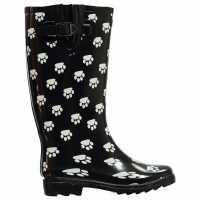 Cotswold Dog Paw Wellingtons Ladies Black Paw Дамски гумени ботуши