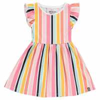 Soulcal Рокля За Момиченца Jersey Floral Dress Infant Girls Ochre Striped Детски поли и рокли