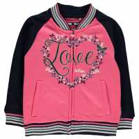 Lee Cooper Glitzy Baseball Sweater Infant Girls Pink/Navy Детски горнища и пуловери