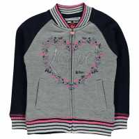 Lee Cooper Glitzy Baseball Sweater Infant Girls Grey M/Navy Детски горнища и пуловери