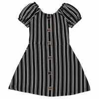 Firetrap Рокля За Момиченца Rib Dress Infant Girls Black Stripe Детски поли и рокли