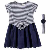Crafted Dress Set Infant Girls Navy Stripe Детски поли и рокли
