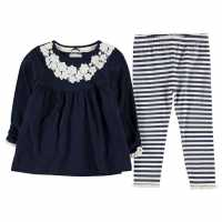 Crafted Two Piece Tunic Set Infant Girls Navy Crochet Детски спортни екипи