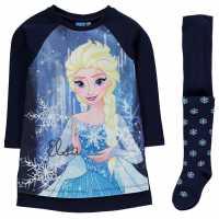 Character Детска Комплект Рокля Полар Fleece Dress Set Infant Girls Disney Frozen Детски поли и рокли
