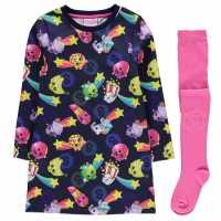 Character Детска Комплект Рокля Полар Fleece Dress Set Infant Girls Shopkins Детски поли и рокли