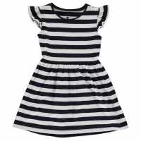 Crafted Рокля За Момиченца Jersey Dress Infant Girls Navy Stripe Детски поли и рокли