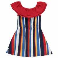 Soulcal Рокля За Момиченца Stripe Frill Dress Infant Girls Bardot Stripe Детски поли и рокли