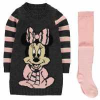 Character Плетена Рокля Knitted Dress Set Infant Girls Disney Minnie Детски поли и рокли