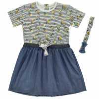 Crafted Dress And Headband Set Infant Girls Floral Stripe Детски поли и рокли