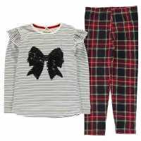 Crafted Essentials Red Tartan Set Girls Junior Multi Детски горнища и пуловери