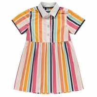 Soulcal Рокля За Момиченца Shirt Dress Infant Girls Summer Stripe Детски ризи