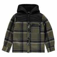 Firetrap Shirt Olive/Blk Lined Детски ризи