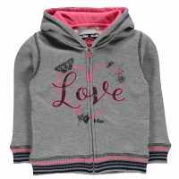 Lee Cooper Glitzy Zipped Sweater Infant Girls Grey Marl Детски суитчъри и блузи с качулки